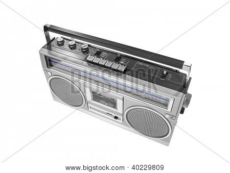 Portable vintage radio cassette recorder isolated with clipping path.