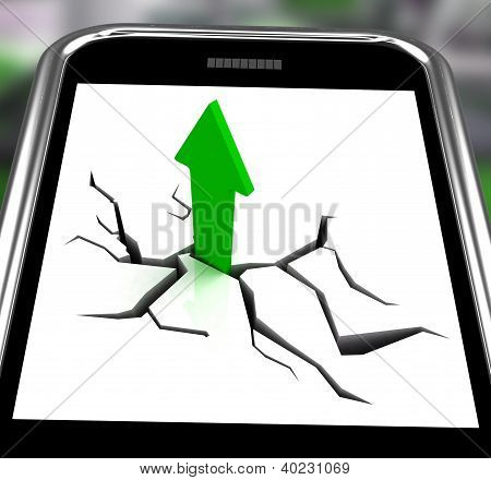 Arrow Going Up On Smartphone Showing Increased Sales
