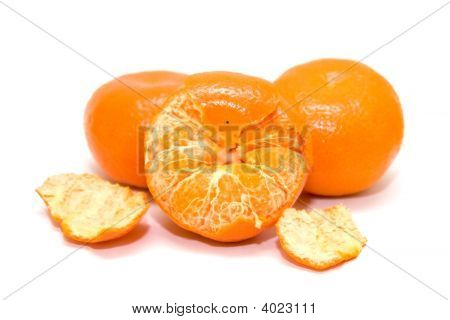Mandarins Isolated On A White Background