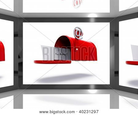 Mailbox On Screen Shows Electronically Mailing