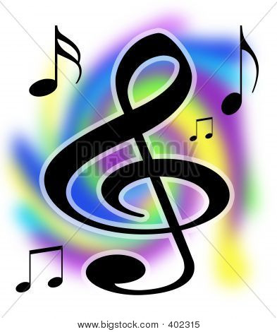 Treble Clef Music Notes Illustration