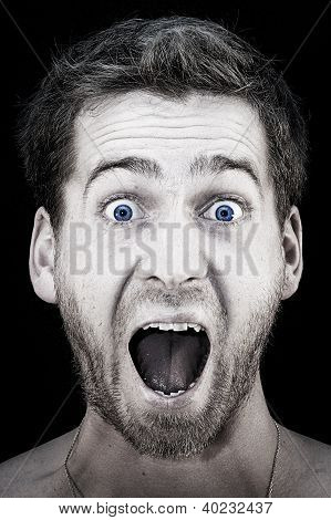 screaming guy with mouth wide open