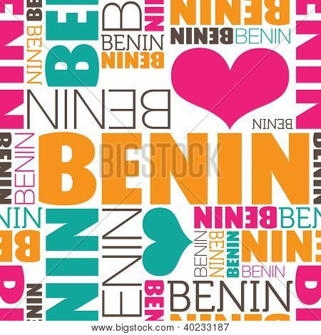 I love Benin Africa seamless typography background pattern