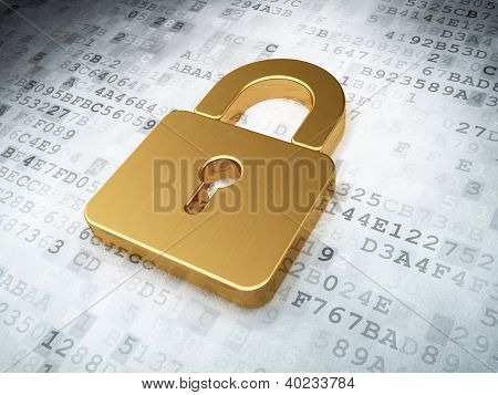 golden closed padlock on digital background