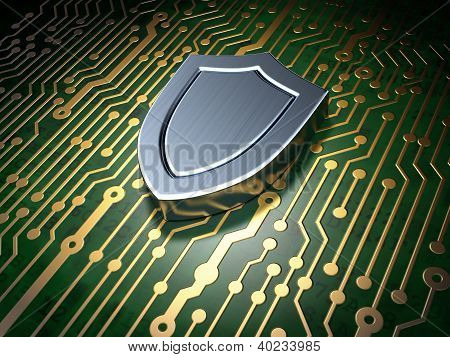 Security concept: circuit board with shield icon