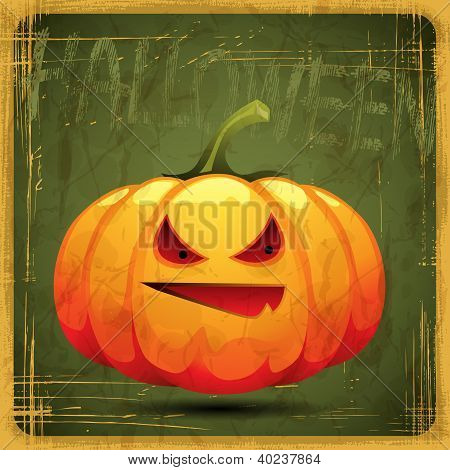 EPS10 vintage grunge old card. Halloween pumpkin.