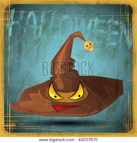 EPS10 vintage grunge old card. Halloween magical hat.
