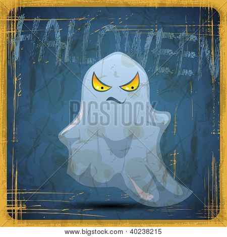 EPS10 vintage grunge old card. Halloween ghost.
