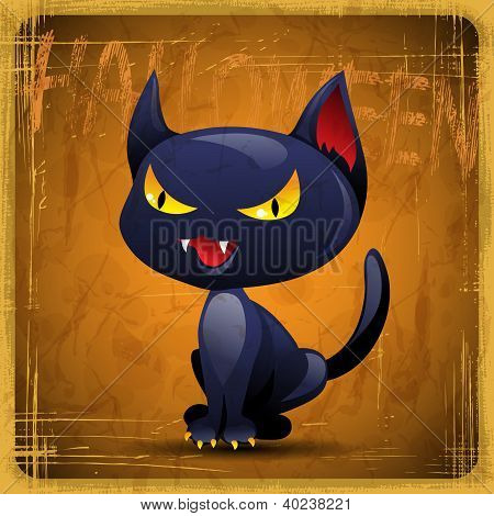 EPS10 vintage grunge old card. Halloween cat.