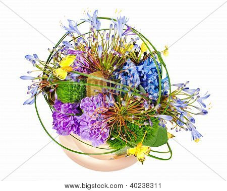 Colorful Floral Bouquet Of Roses, Cloves And Orchids Arrangement Centerpiece In Vase Isolated On Whi