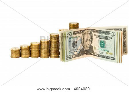 Dollar banknotes and coins