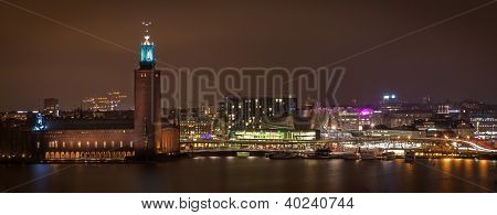 Wiev Over Stockholm City-hall At Night