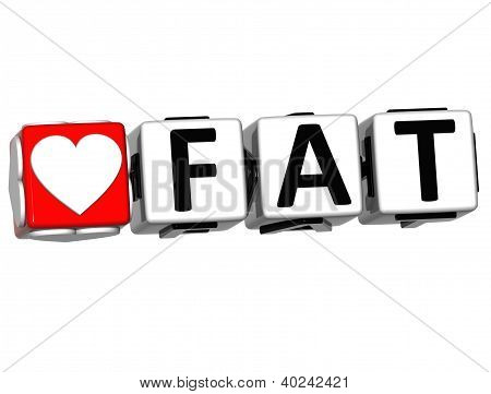 3D Love Fat Button Click Here Block Text
