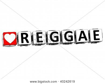 3D Love Reggae Button Click Here Block Text