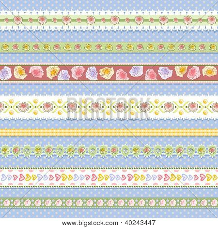 set of seamless rose borders