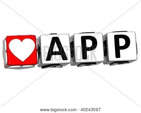 3D Love App Button Click Here Block Text