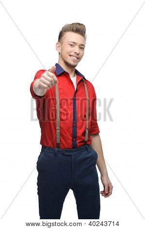 cheerful retro man showing ok
