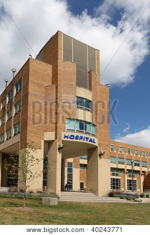 Building with hospital sign