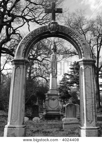 Cemetery In Brooklyn - Cross With Arch- Black & White