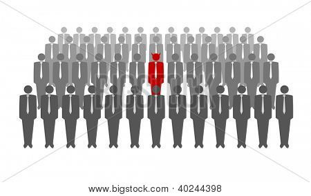 Vector illustration of red devil in crowd of businessmen