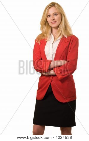 Woman In Red Business Sut