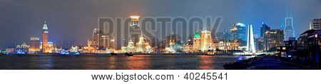 Shanghai urban architecture over river at dusk panorama