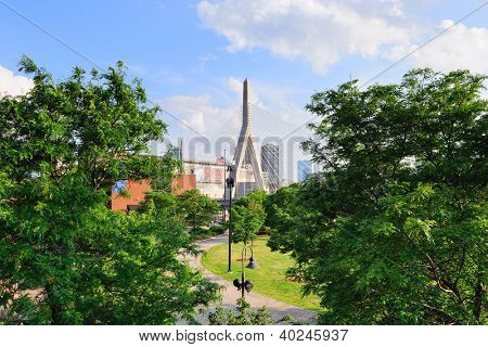 BOSTON, MA - JUN 18: Leonard P. Zakim Bunker Hill Memorial Bridge with city skyline on June 18, 2011 in Boston, Massachusetts. Zakim Bridge is the world's widest cable-stayed bridge.