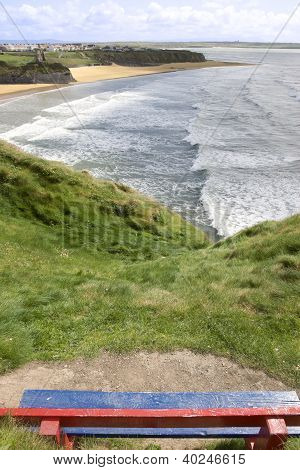 View Of Beach And Cliffs In Ballybunion From Bench