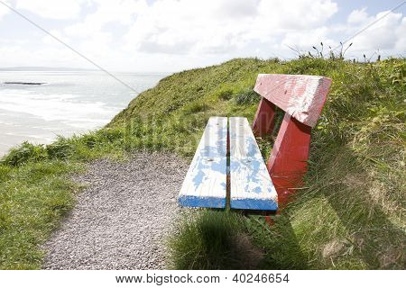 View Of Beach And Sea In Ballybunion With Bench