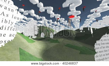 Question clouds over surreal landscape with paper trees and men afloat in the sky