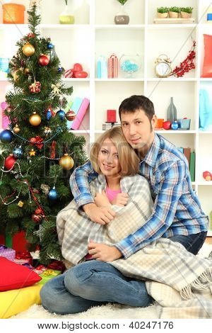 Young happy couple near a Christmas tree at home