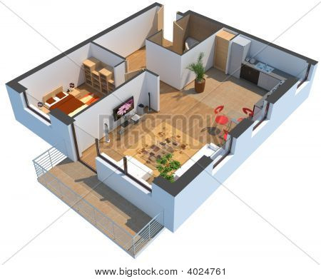3D Sectioned Apartment With Furniture With Clipping Path