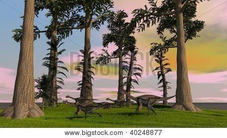 gigantoraptors in jungle
