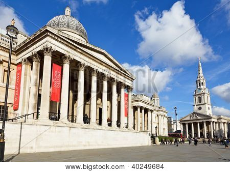 The National Gallery and the St. Martin-in-the-Fields church in London