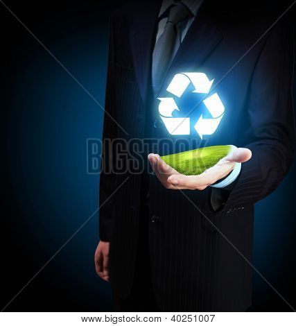 Reuse, reduce, recycle poster design. Include reuse symbol image