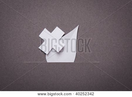 Medical background, Paper cut of blood drop and medical symbol with copy space for text or design