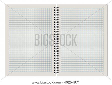 Bloc de notas de cuadros en blanco doble página aislar sobre fondo blanco.
