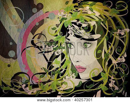 Grunge Spring Floral Girl