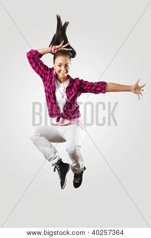 Young hiphop dancer making a move on white