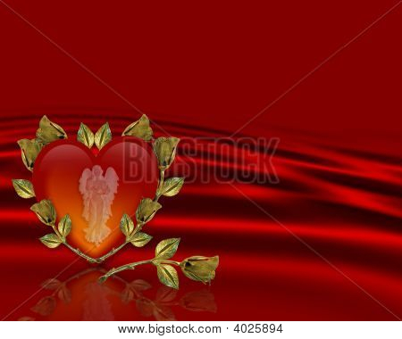 Valentine Red Satin Angel Heart Background