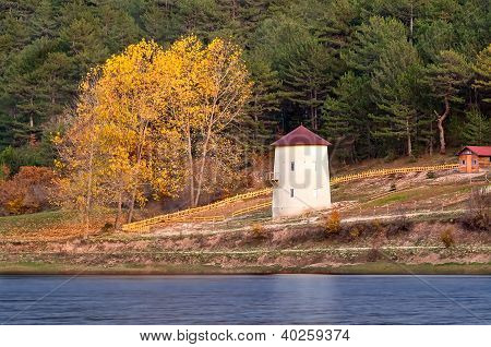 Windmill At Autumn At Cubuk Lake, Turkey