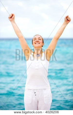 Happy Woman At The Beach