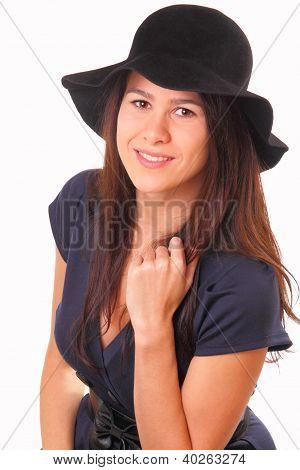 Beautiful Woman In A Black Hat