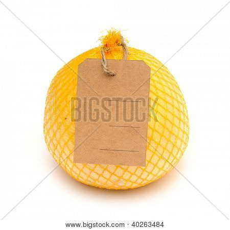 pamela fruit with blank price tag wrapped in a plastic