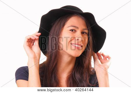 Pretty Young Woman In A Black Hat