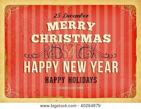 Vintage tarjeta de Navidad con fondo marco y grunge retro para el diseño de la invitación de Navidad, eps10 illu