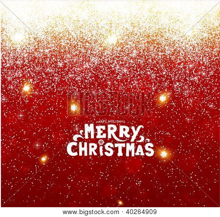 Red Christmas background with snowflakes for Xmas design. Vector eps 10.