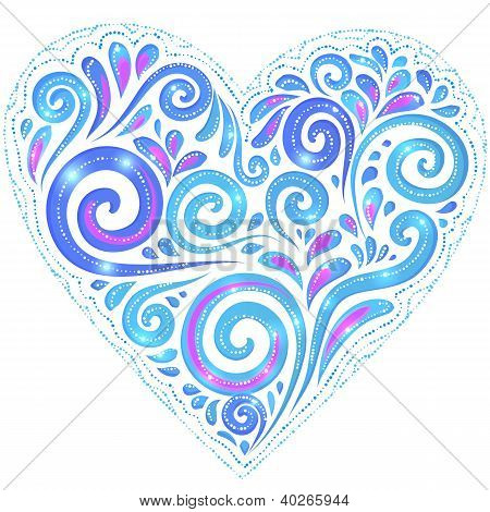 Blue vector shining heart on dark-blue background