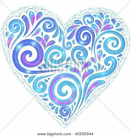 Blue vector shining heart on dark-blue background