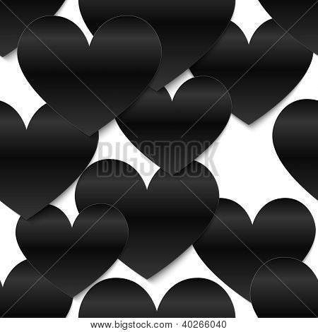 Black glossy vector paper hearts, white background